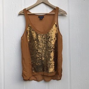 Trouve Mustard Sequin Sparkling Sheer Tank Small